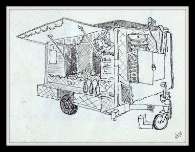 Street sketch Taco cart